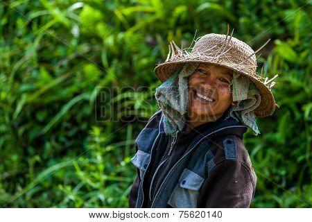 Balinese farmer smiling