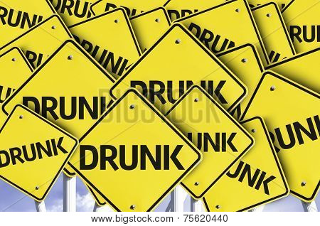 Drunk written on multiple road sign