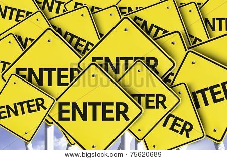Enter written on multiple road sign