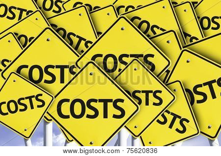 Costs written on multiple road sign