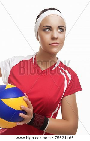 Caucasian Professional Female Volleyball Player Equipped In Volleyball Outfit Looking Up