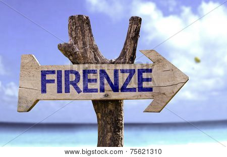 Florence (In Italian) wooden sign with a beach on background