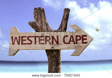 Western Cape wooden sign with a beach on background