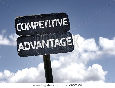 Competitive Advantage sign with clouds and sky background