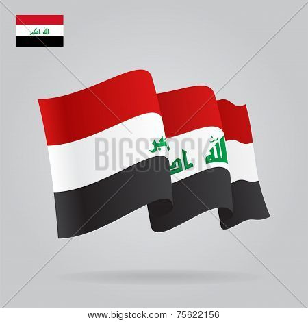 Flat and waving Iraqi Flag. Vector