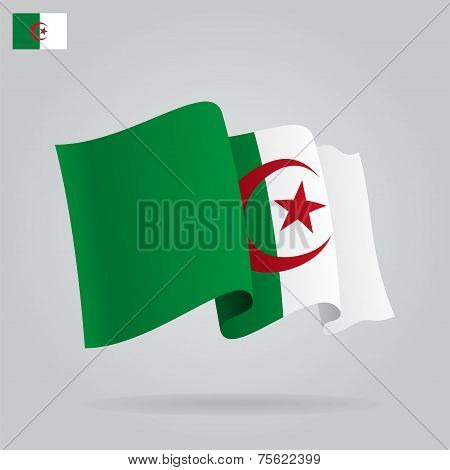 Flat and waving Algeria Flag. Vector