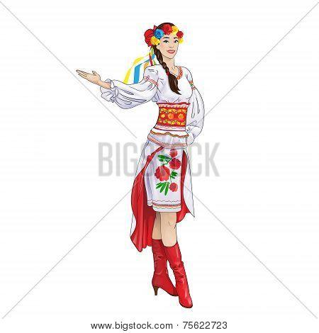 girl welcome hand ukrainian costume clothes