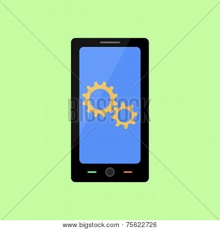 Flat style smart phone with gear wheels
