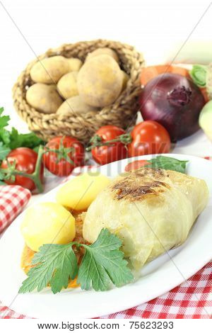 Stuffed Cabbage With Potatoes And Mincemeat