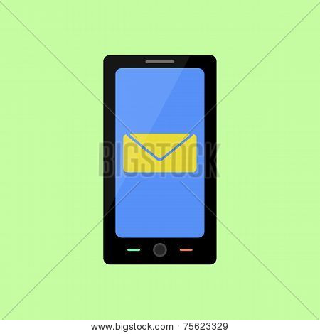 Flat style smart phone with  message