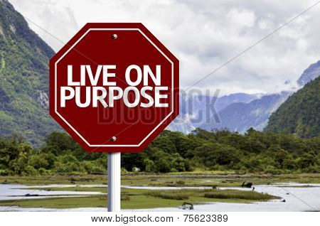 Live On Purpose written on red road sign with landscape background