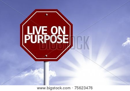 Live On Purpose written on red road sign with a sky on background