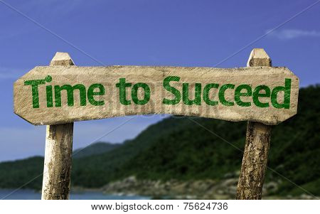 Time to Succeed wooden sign with a beach on background