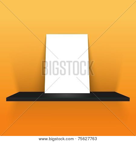 White poster on a shelf over yellow background
