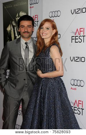 LOS ANGELES - NOV 6:  Oscar Isaac, Jessica Chastain at the AFI FEST 2014 Screening Of