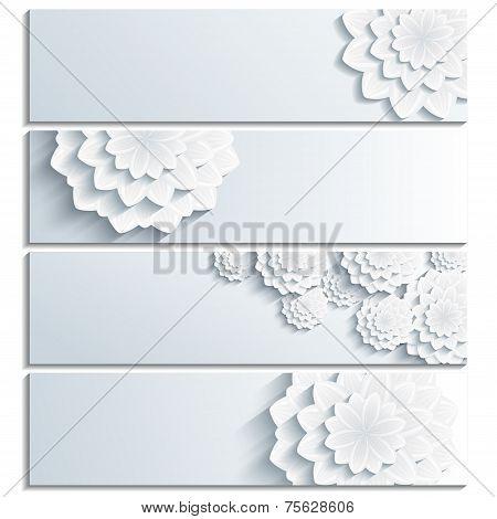 Set Of Grey Banner With 3D Flower Chrysanthemum