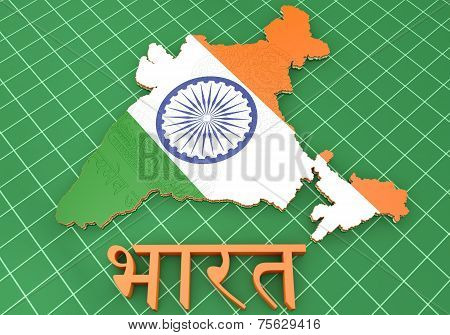 Map Illustration Of India With Flag