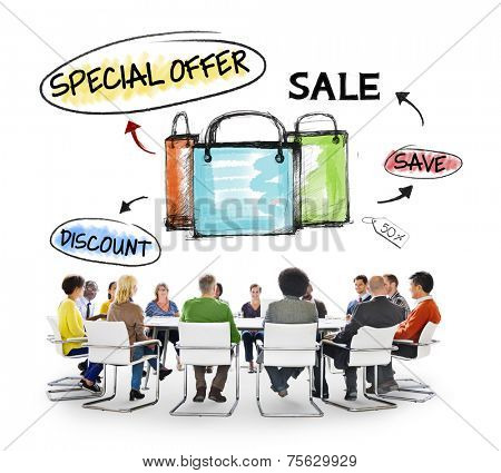 Multi-Ethnic Group of People and Sale Concept