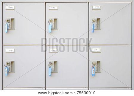 Close - up row of steel locker at pubic area