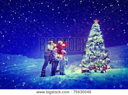 Christmas Tree Family Carol Snow Concept