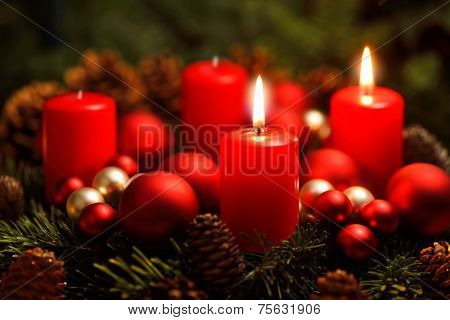 Advent Wreath With 2 Burning Candles