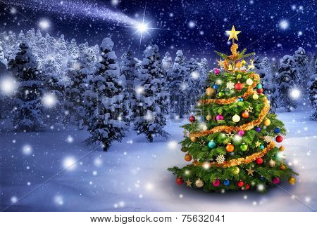 Christmas Tree In Snowy Night poster