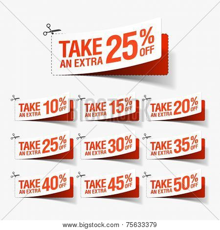 Take an extra sale coupons. Vector.