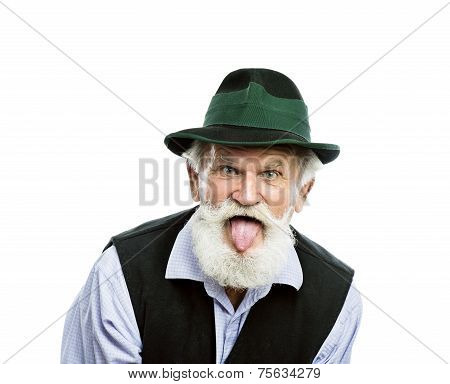 Old bavarian man in hat on white background