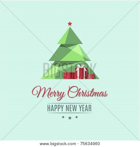 Polygonal Christmas tree. Merry Christmas and Happy New Year.