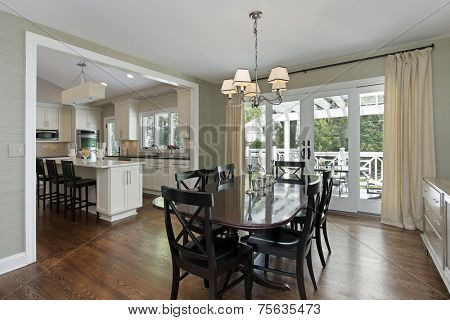 Dining room in luxury home with kitchen view