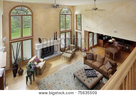 Two story living room in luxury home