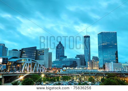Downtown Atlanta At Night Time