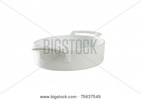 cutout of empty casserole dish on white background