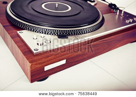 Stereo Turntable Vinyl Record Player Analog Retro Vintage Angle View