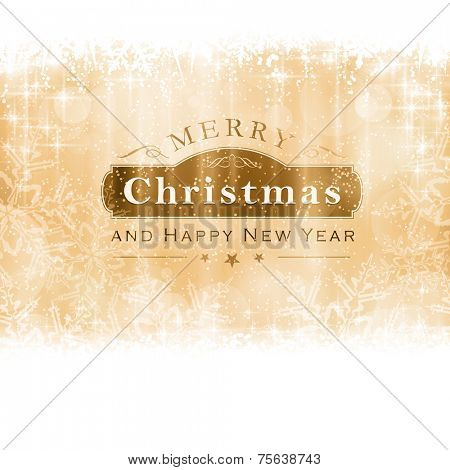 Christmas background with light effects and blurry light dots in shades of golden with a label with the lettering Merry Christmas and Happy New Year.