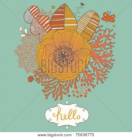 Floral background made of leafs, corals, poppy flower and butterflies in stylish cartoon style with textbox