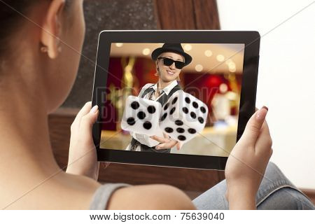 Girl playing at online casinos
