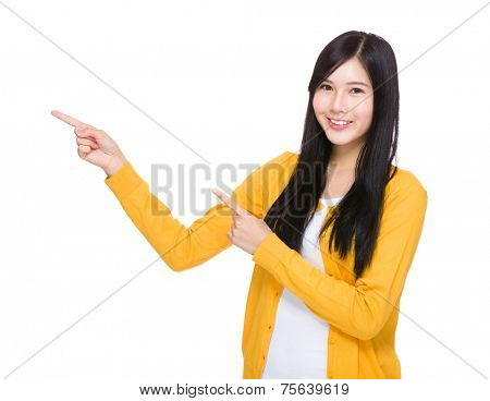 Woman with two finger point up