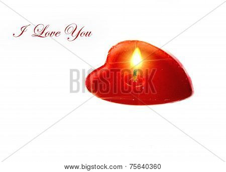 Heart Shaped Candle With Text