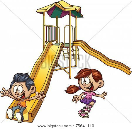 Cartoon kids playing on a slide. Vector clip art illustration with simple gradients. Each on a separate layer.