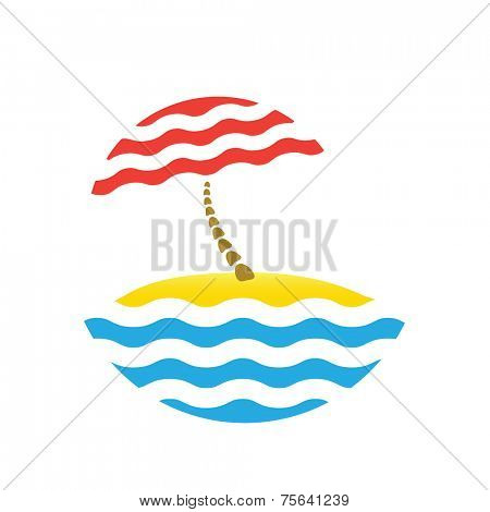 beach umbrella and sea, vector tourism logo