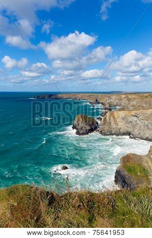 Bedruthan Steps Cornwall England UK Cornish north coast near Newquay beautiful sunny blue sky day