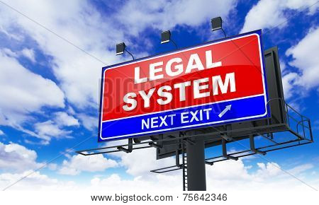 Legal System Inscription on Red Billboard.