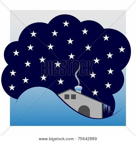 Winter Cottage Under The Sky With Stars