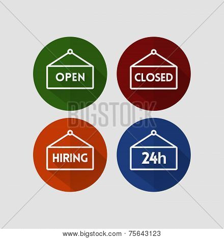 Set of signs - Open, Closed, Hiring, 24 hours, flat style vector icons