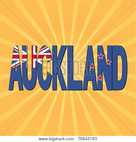 Auckland flag text with sunburst vector illustration
