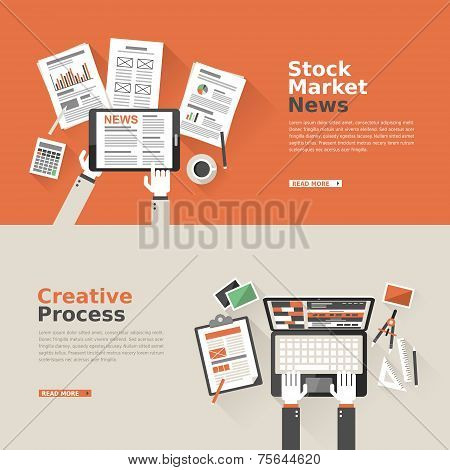 Flat Design For Stock Market And Creative Process