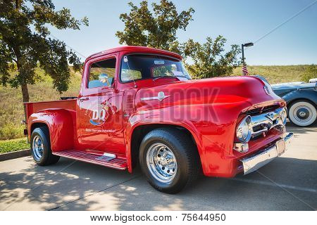 Red 1956 Ford F-100 Pickup Truck