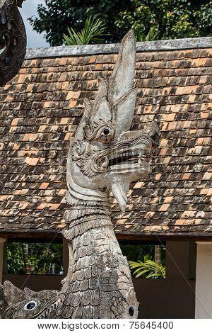Old Naga Statue In Thai Temple