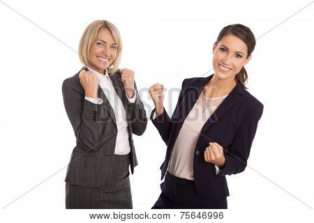 Team of two isolated business woman celebrating her success talking with hands and have fun.